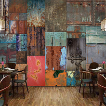 Customized Size Retro European Style Iron Sheet Rust Mural 3D Wallpaper For Bar Restaurant Cafe Store Wall Painting Art Decor