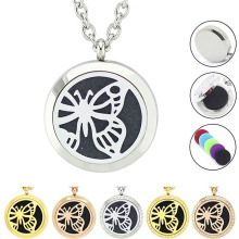 With Chain as Gift! Wholesale Butterfly Design Perfume Locket Magnetic 316L Stainless Steel Aromatherapy Locket Necklace