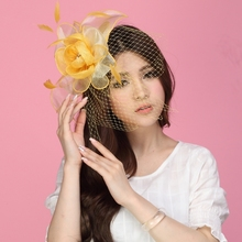 Free Shipping Women Fascinator Hats Yellow Organza Flower Feather Hair Accessory Wedding Hair Accessories Hairdress