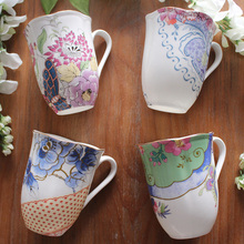 brand high quality ceramic coffee mug with handgrip Europe style home office water milk creative cups and mugs floral printed