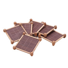 vintage square mat bamboo tea cup mat Insulation pads handmade table mat cup holder coasters kitchen supplies home decoration
