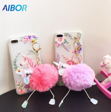 AIBOR Cartoon Cute hair bulb pendant 3D Unicorn Flower For iPhone 5 5s SE Soft TPU Phone Case For iPhone 6 6s 7 8 Plus Cover(China)