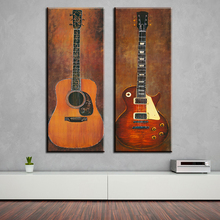 2 piece music studio room guitar top decorative wall paintings for home decor idea oil painting art print on canvas Unframed