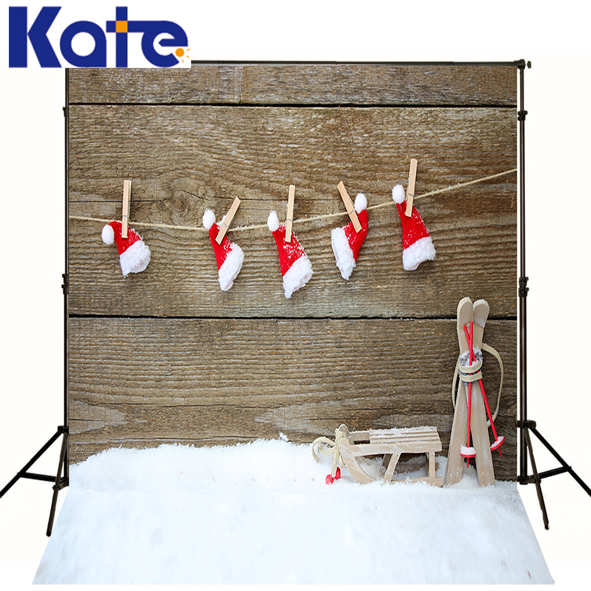 Kate Christmas Background Photography Winter Snow Floor Sled Scenery backdrops Red Hat Wood Wall Backgrounds for photo Studio<br>