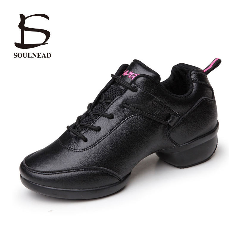 Dancing Sneakers Women Shoes Platform Genuine Leather Sports Feature Soft Outsole Jazz Modern Dance Shoes Leather Sneakers Women<br>