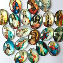 ZEROUP Oval glass cabochon Jesus pictures mixed pattern fit cameo base setting for jewelry embellishment flatback 20pcs/lot