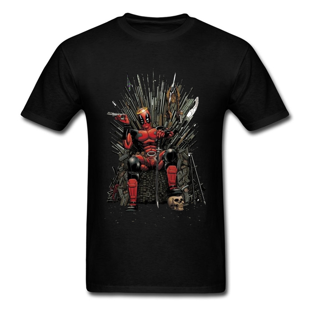 Cotton Male Short Sleeve Deadpool0612 T Shirt Printed On Tees High Quality Comics Round Collar T Shirt Wholesale Deadpool0612 black