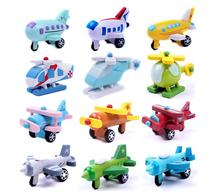 12pcs/lot Kids wooden airplane toys with all different color and pattern/ Wooden Complete Set Of Mini Helicopter vehicle Toy