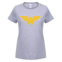 Summer New Wonder Woman Logo T Shirts Women Comic Anime T-shirt Cotton Female Clothing Girl Camisetas O Neck Top Tee OT-161