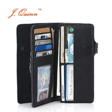 J.Quinn Alligator Crocodile Wallets Men 19 Credit Card 4 Currency with Zipper Pocket Long Snap Mens Wallet Geniune Leather Purse