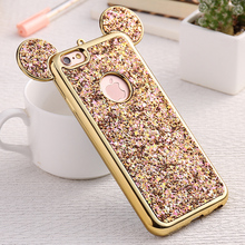 Bling Sequin Case for iPhone6 6s Luxury  Plating Frame 3D Mouse Ears For iPhone6Plus 6splus Soft TPU Cover with LOGO Hole HU1014