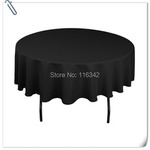 Big Discount !!!! Retail 10pcs 90inch black round table linen/table cloth for weddings Free Shipping(China)