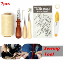 7 pcs Leather Carft Hand Stitching Sewing Tool DIY Kit Awl Costura Hand Stitching Set KT0136