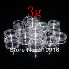 high quality 3g X 100 Empty Clear Plastic Jars Pots containers For Nail Art Make Up Cosmetic Craft Glitter ,small sample bottles(China)