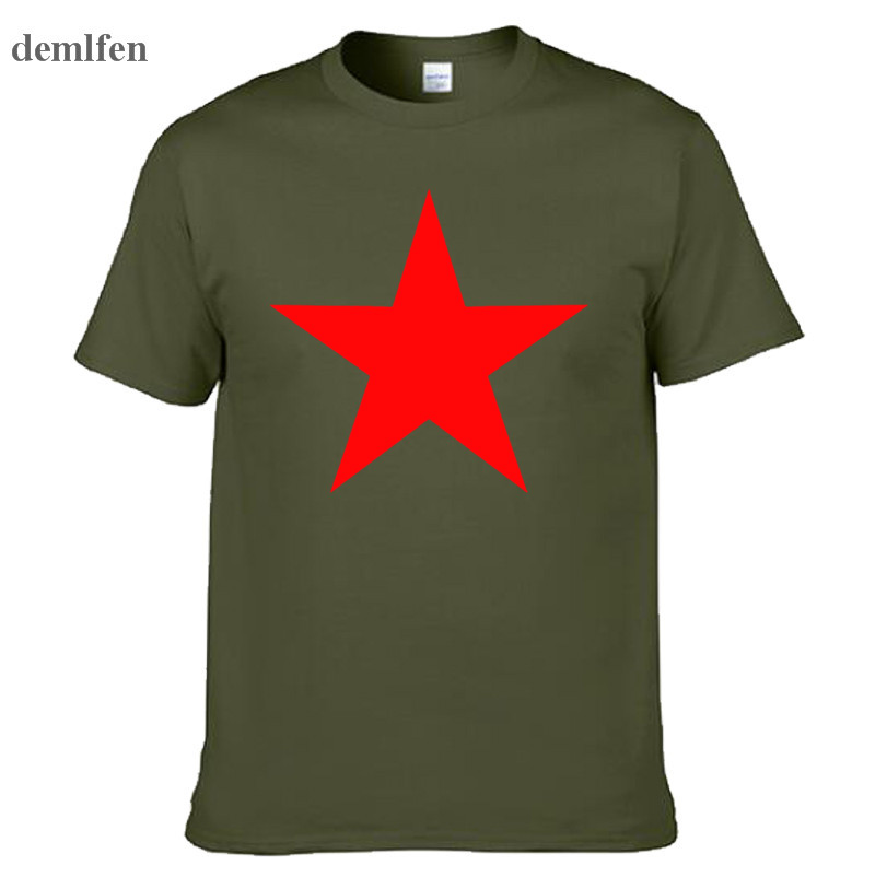 Fashion Brand Red Star T Shirt Mens Novetly Funny Short Sleeve Cotton T-shirt Tops 3D Print Fitness O Neck Shirts Camisetas Tees