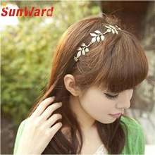 Hot marking Gold Olive Leaves Leaf Stretchy Hair Head Band Grecian Style Trendy Trending Ap6 Drop Shipping(China)