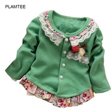 Children's Clothing Girls Fashion Solid Color 2017 Spring Flowers Splicing Girl Cardigan Coat 4-Color Kids Girls Sweater 1-4 Age(China)