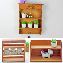 Wall Hanging Shelves Wooden Storage Cabinet Three-Layer Showcase Box Sundries Storage Retro Home Decoration Wood Craft