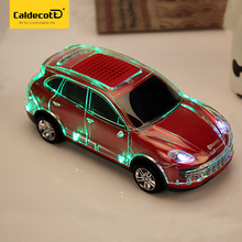 New USB Crystal Car Shape Bluetooth Speaker Cool LED Light Portable Bass Wireless Music Player For Mobile Phone Handsfree(China)