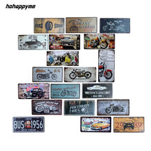 hohappyme Plaque Vintage Car Plates Bar Decorative License Plate Garage Sign Apartment Living Room Wall Metal Home Decor 15x30cm(China)