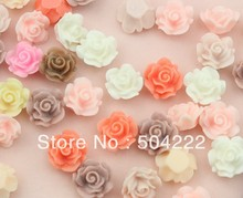 200pcs medium size colorful Resin Rose matte pastel Flat Back Cabochon charm for Bobby Pins, Flower Rings Pendants