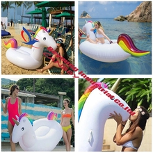 "Cheap Price 80"" rainbow unicorn floater inflatable pool floater unicorn ride on raft water air bed(China)"
