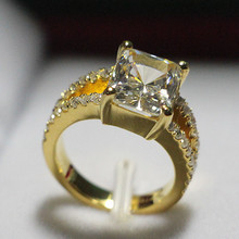 Amazing Pure Yellow Gold 18K Women Wedding Ring 3.85CT Cushion Cut Simulate Diamond Fine Gold Jewelry For Lady Last Forever