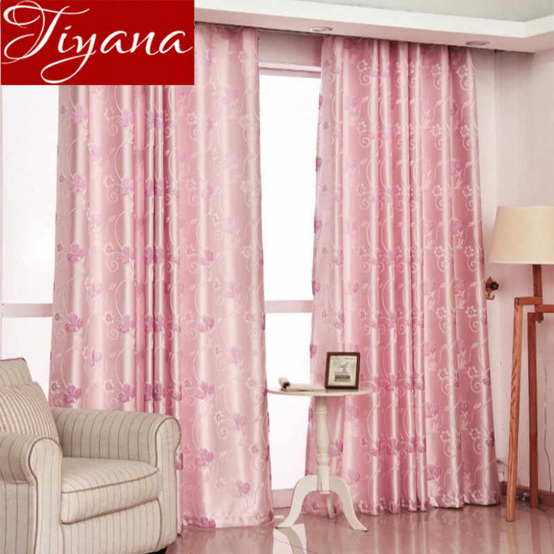 Jacquard Curtains Pink Sheer Voile Modern Window Living Room Tulle Curtians Drapes Blue Cortinas Shade Fabrics Rideaux X266 #30