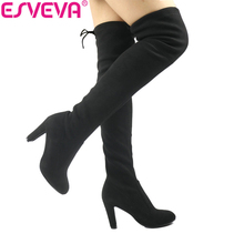 ESVEVA 2017 Western Style Spring Over The Knee Boots Square High Heel Women Boots Sexy Ladies Lace Up Fashion Boots Size 34-43