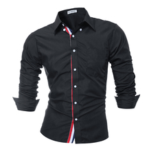 Brand 2017 Fashion Male Shirt Long-Sleeves Tops Solid Color High Quality Mens Dress Shirts Slim Men Shirt 3XL 9007