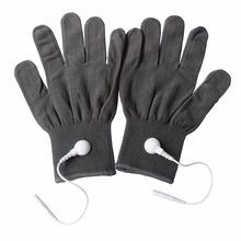 1 pairs/Pack Conductive Massage Gloves physiotherapy electrotherapy electrode Gloves Deep Gray