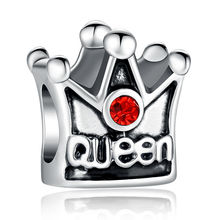 4 Colors Luxury Silver Color Queen Crown Charm Fit  Bracelet Necklace Original Accessories with Clear CZ WEU5271