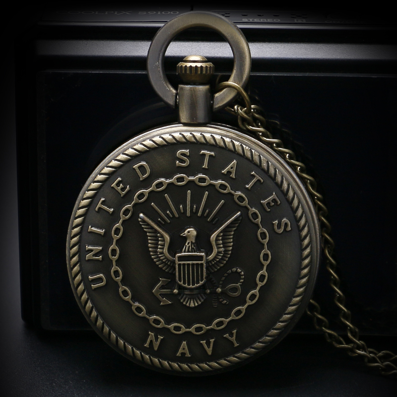Pocket Watches Pendant Chain Modern Fob Bronze Retro United States Navy Badge  Cool Boy Necklace Gifts For Children 2018 (8)