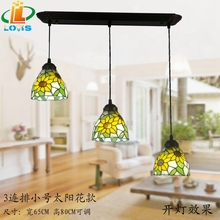 Free shipping sunflowers 3 linked table rectangular glass chandelier Tiffany lighting American Bar cafe shop lighting