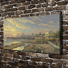 H1107 Thomas Kinkade Capitola Sunset Scenery, HD Canvas Print Home decoration Living Room Bedroom Wall pictures painting(China)