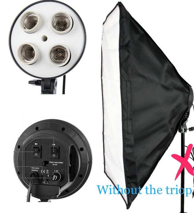 Free shipping Portable Photo Studio Lighting Softbox Video Light 50*70cm Light head with 4 in 1 E27 Lamp Holder ,softbox kit<br><br>Aliexpress