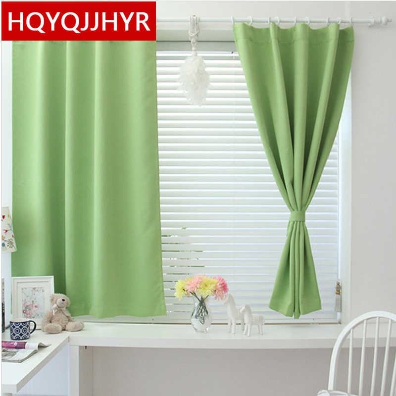 2019 new  Korean solid color short blackout curtains for  bedroom / living room modern and simple curtains for  kitchen balcony