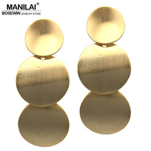 MANILAI Punk Curve Round Metal Long Earrings For Women Fashion Jewelry Big Stud Earrings Statement Brincos 2017(China)