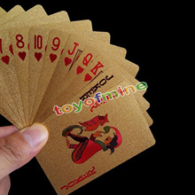 Golden Playing Cards Deck gold foil poker set Magic card 24K Gold Plastic foil poker Durable Waterproof Cards Luxury gold color