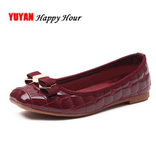Elegant Bowtie Patent Leather Flats Women Boat Shoes Casual Flat Heel Brand Shoes Womens Flats Soft Design Plus Size 41 T095(China)