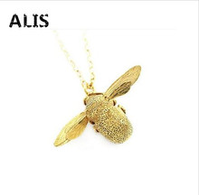 Drop Shipping Cute Bee Necklace Fine Jewelry Silver Gold Honey bee Statement Pendant Necklace For Women N0863