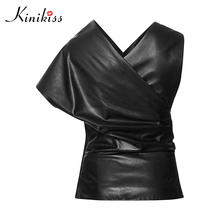 Kinikiss PU Blouse 2017 Black Batwing sleeve V Neck Asymmefric patchwork Short Sleeve one shoulder Women Faux leather Blouses(China)
