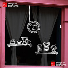 Free shipping Coffee shop sticker cafe shop decoration stickers wall stickers dessert classic glass door decoration stickers