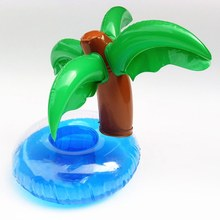 new inflatable plam tree drink pool float inflatable cola beverage cup holder christmas supplies
