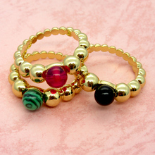 2017 Newest Hot Sell Classic Fashion Jewelry Wavy Multicolor Stone Beads Inlaid Malachite Ring Birthday Gift For Women
