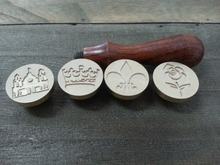 4 pieces wax seals stamps copper heads(Rose, Palace, Crown, Iris) with one wood hand(China)