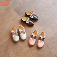 2017Princess leather shoes Girl bowknot T tape Korean pink party shoes spring New Pink dress shoes girls black wedding shoe kids