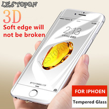 3D 9H Premium Tempered Glass For iPhone 6 6s Plus Soft Edge Full Cover Screen Protector Film For iPhone 7 Plus Glass Red