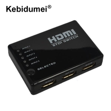 HDMI Splitter Switcher 5 Ports Selector 1080P HD Splitter for HD DVD TV for Xbox 360 With IR Remote Control + IR Receiver Cable