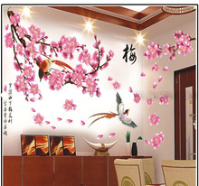 Best Price Year The magpies plum flower Room House Glass Christmas Decoration Chinese New Year Wall Sticker Removable